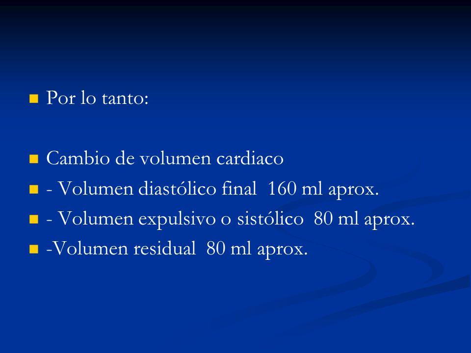 Por lo tanto: Cambio de volumen cardiaco - Volumen diastólico final 160 ml aprox. - Volumen expulsivo o sistólico 80 ml aprox. -Volumen residual 80 ml