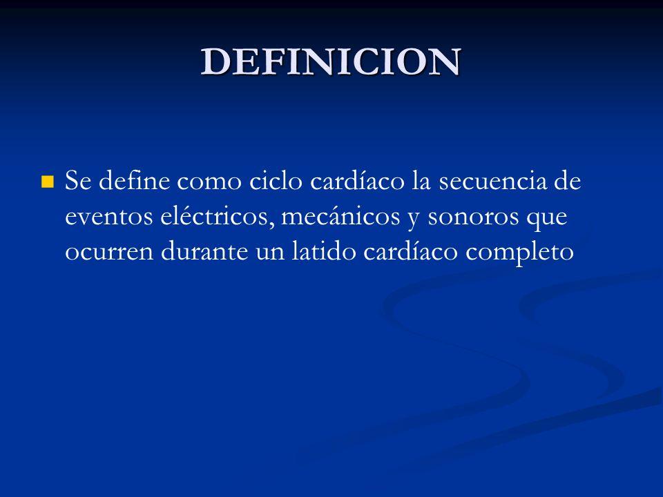 DEFINICION Se define como ciclo cardíaco la secuencia de eventos eléctricos, mecánicos y sonoros que ocurren durante un latido cardíaco completo