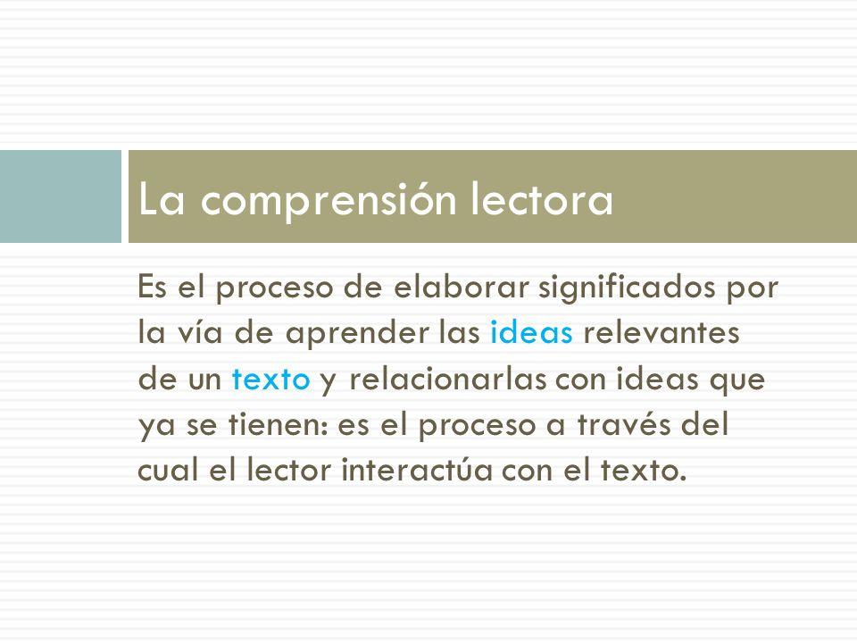 Es el proceso de elaborar significados por la vía de aprender las ideas relevantes de un texto y relacionarlas con ideas que ya se tienen: es el proce