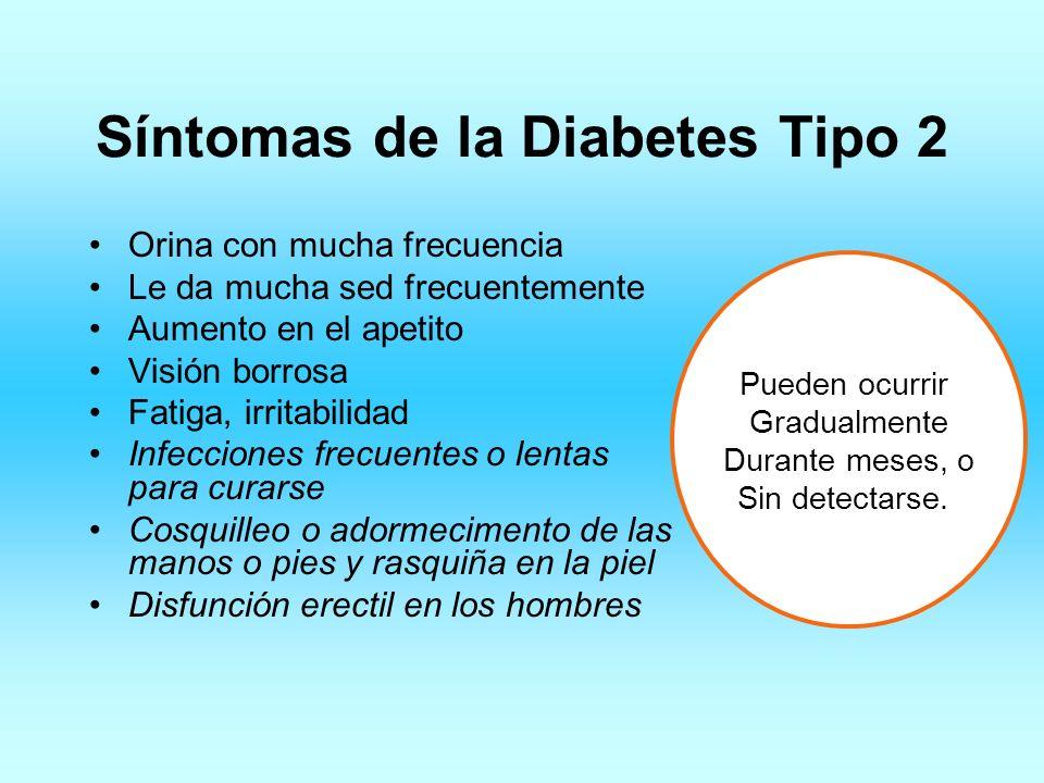 Síntomas de la Diabetes Tipo 2 Orina con mucha frecuencia Le da mucha sed frecuentemente Aumento en el apetito Visión borrosa Fatiga, irritabilidad In