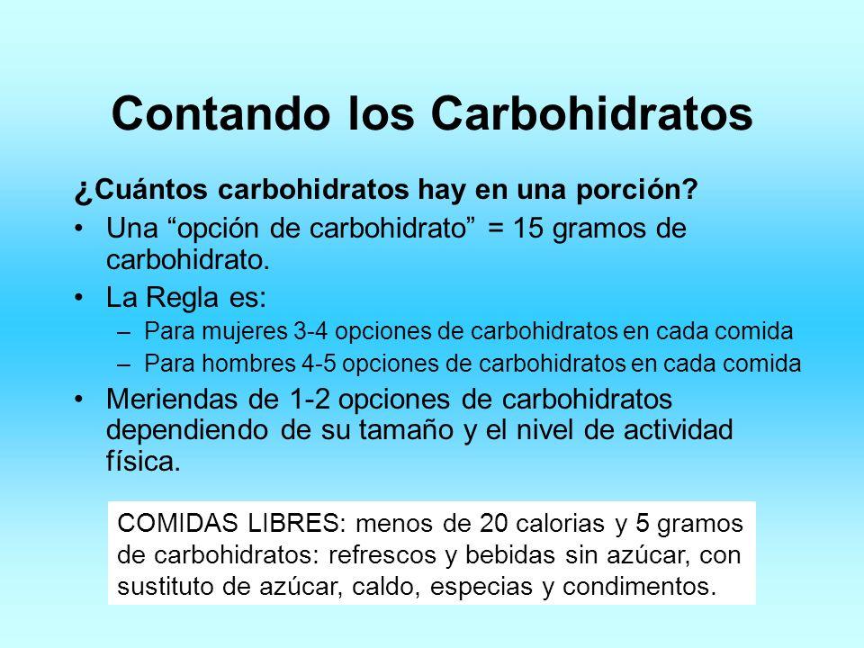 Contando los Carbohidratos ¿ Cuántos carbohidratos hay en una porción? Una opción de carbohidrato = 15 gramos de carbohidrato. La Regla es: –Para muje