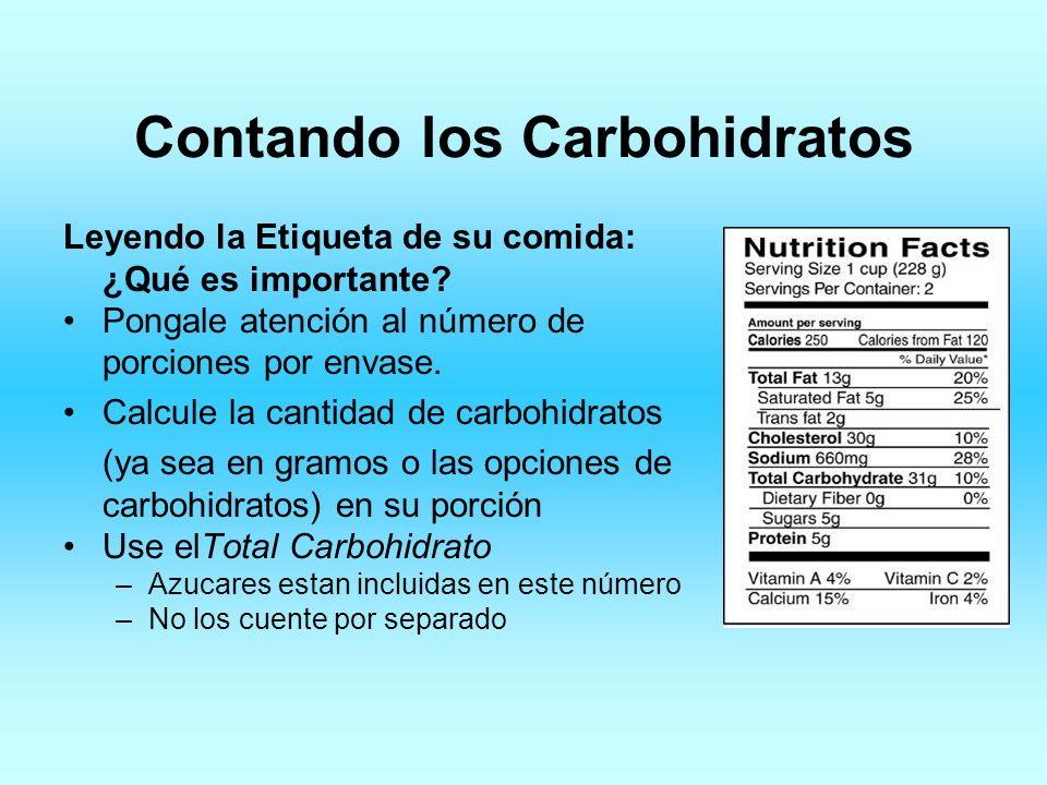 Contando los Carbohidratos Leyendo la Etiqueta de su comida: ¿Qué es importante? Pongale atención al número de porciones por envase. Calcule la cantid