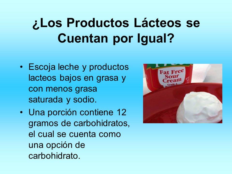 ¿Los Productos Lácteos se Cuentan por Igual? Escoja leche y productos lacteos bajos en grasa y con menos grasa saturada y sodio. Una porción contiene