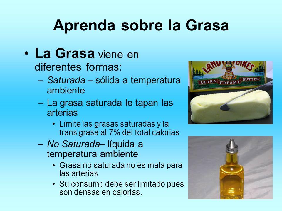 Aprenda sobre la Grasa La Grasa viene en diferentes formas: –Saturada – sólida a temperatura ambiente –La grasa saturada le tapan las arterias Limite