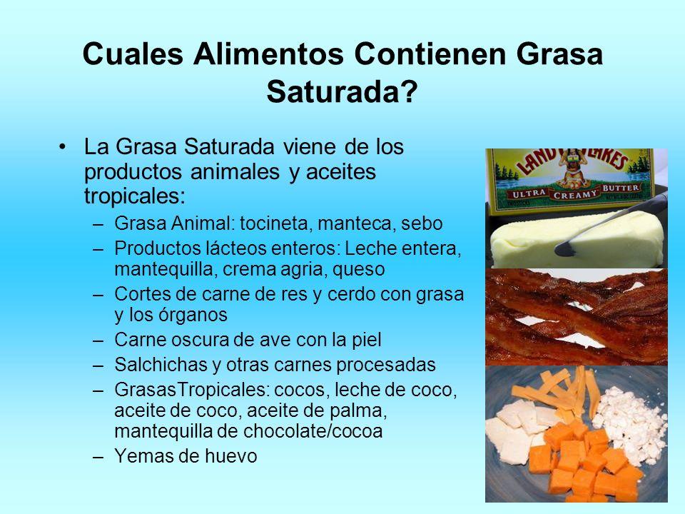 Cuales Alimentos Contienen Grasa Saturada? La Grasa Saturada viene de los productos animales y aceites tropicales: –Grasa Animal: tocineta, manteca, s