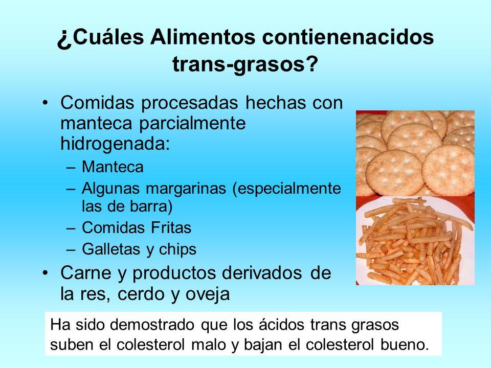 ¿ Cuáles Alimentos contienenacidos trans-grasos? Comidas procesadas hechas con manteca parcialmente hidrogenada: –Manteca –Algunas margarinas (especia