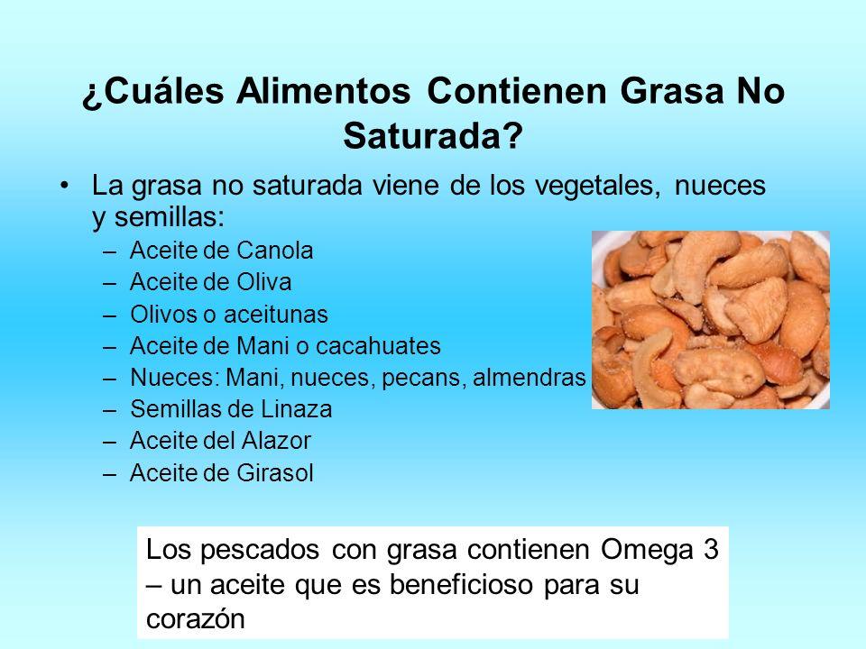 ¿Cuáles Alimentos Contienen Grasa No Saturada? La grasa no saturada viene de los vegetales, nueces y semillas: –Aceite de Canola –Aceite de Oliva –Oli