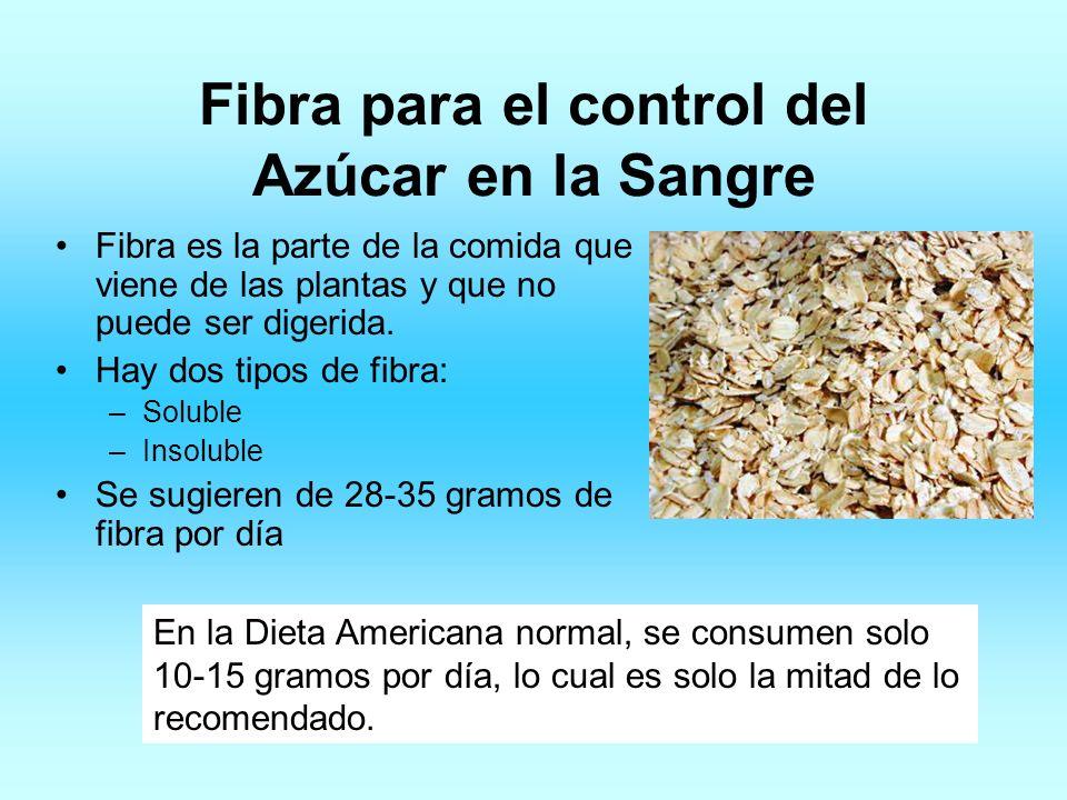 Fibra para el control del Azúcar en la Sangre Fibra es la parte de la comida que viene de las plantas y que no puede ser digerida. Hay dos tipos de fi