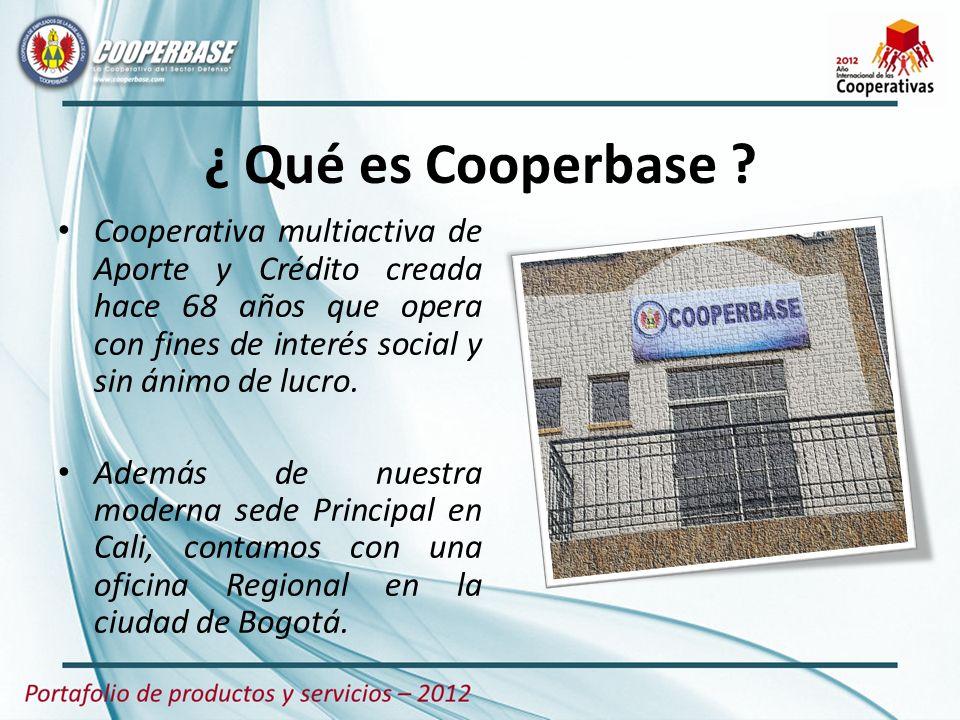 ¿ Qué es Cooperbase ? Cooperativa multiactiva de Aporte y Crédito creada hace 68 años que opera con fines de interés social y sin ánimo de lucro. Adem