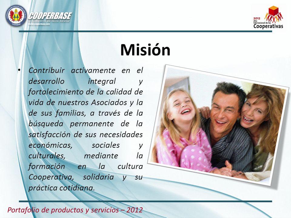 Misión Contribuir activamente en el desarrollo integral y fortalecimiento de la calidad de vida de nuestros Asociados y la de sus familias, a través d