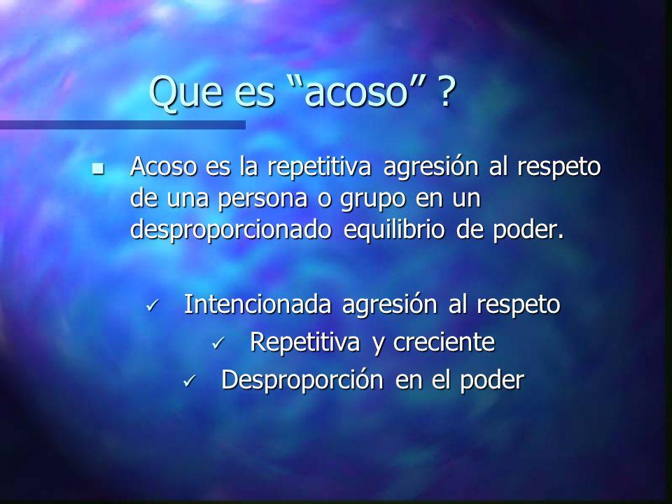 Que es acoso ? Acoso es la repetitiva agresión al respeto de una persona o grupo en un desproporcionado equilibrio de poder. Acoso es la repetitiva ag
