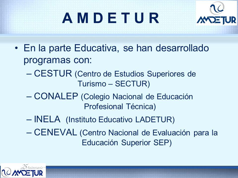 A M D E T U R En la parte Educativa, se han desarrollado programas con: –CESTUR (Centro de Estudios Superiores de Turismo – SECTUR) –CONALEP (Colegio