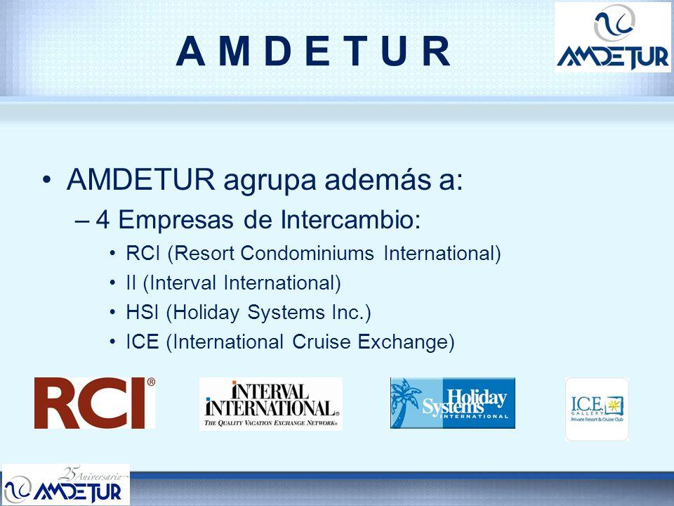 A M D E T U R AMDETUR agrupa además a: –4 Empresas de Intercambio: RCI (Resort Condominiums International) II (Interval International) HSI (Holiday Sy
