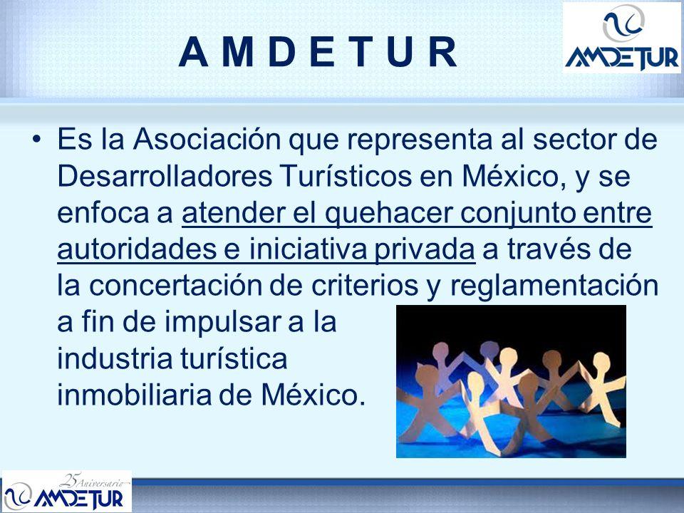 A M D E T U R AMDETUR agrupa a los siguientes organismos: –8 Asociaciones Locales: Cancún – Riviera Maya (ACLUVAQ) Puerto Vallarta – Nuevo Vallarta (ADEPROTUR) Cozumel Los Cabos (ASUDESTICO) Acapulco (ASPROCLUB) Ixtapa (ADOTIZ) Mazatlán (Asociación de Clubes Vacacionales de Sinaloa) Manzanillo*