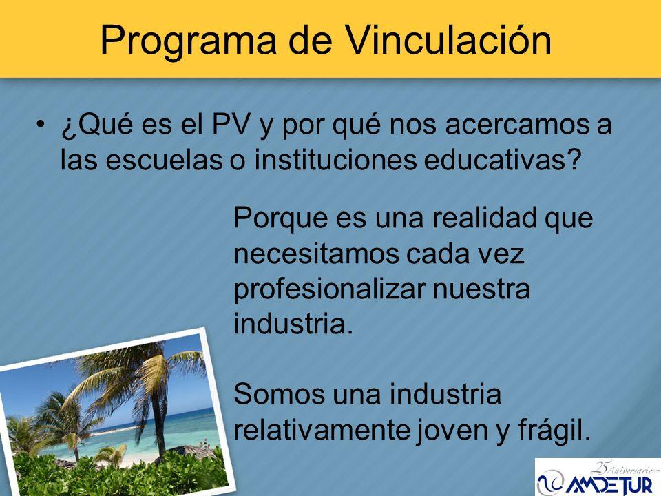 Programa de Vinculación ¿Qué es el PV y por qué nos acercamos a las escuelas o instituciones educativas? Porque es una realidad que necesitamos cada v
