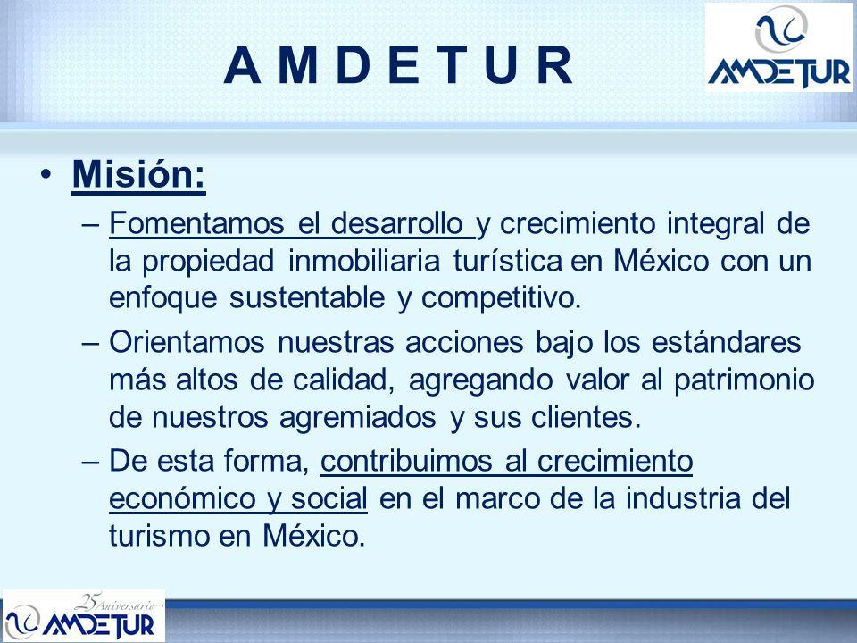 A M D E T U R Visión: AMDETUR ha impulsado el crecimiento y desarrollo sustentable de la propiedad vacacional, a través de sus mejores prácticas y procesos de gestión, transformándola en una industria altamente competitiva y en uno de los pilares de la actividad turística y económica de México, posicionándose como un referente a nivel mundial.