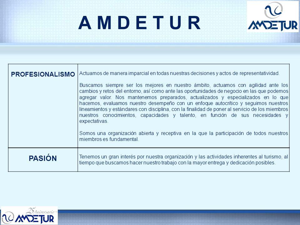 A M D E T U R AMDETUR se constituye el 13 de julio de 1987 AMDETUR representa el 90 % de los Desarrolladores Turísticos en México y está conformada por los siguientes Sectores: –Tiempo Compartido.
