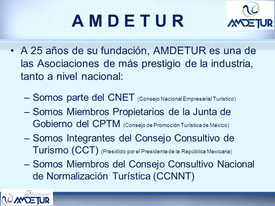 A M D E T U R A 25 años de su fundación, AMDETUR es una de las Asociaciones de más prestigio de la industria, tanto a nivel nacional: –Somos parte del