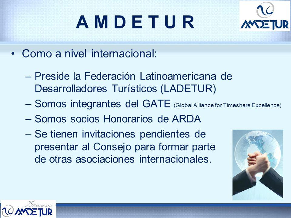 A M D E T U R Como a nivel internacional: –Preside la Federación Latinoamericana de Desarrolladores Turísticos (LADETUR) –Somos integrantes del GATE (