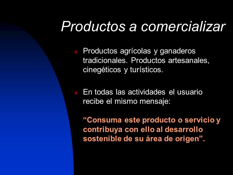Productos a comercializar Productos agrícolas y ganaderos tradicionales. Productos artesanales, cinegéticos y turísticos. En todas las actividades el