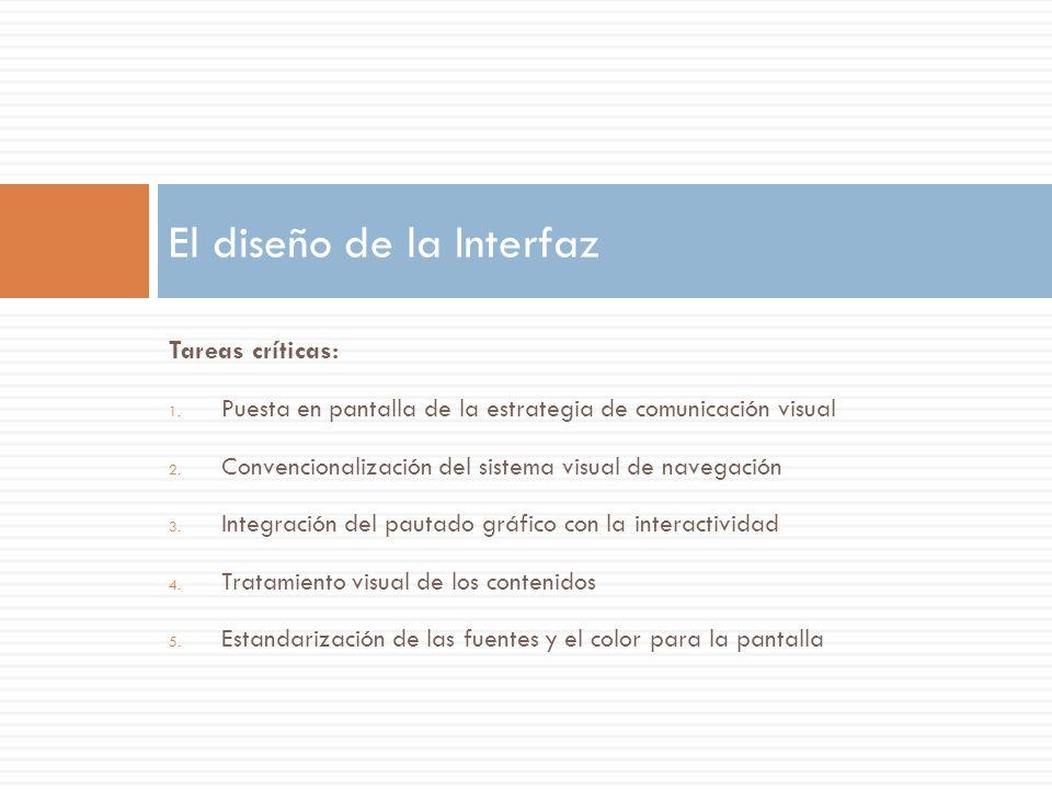 Tareas críticas: 1. Puesta en pantalla de la estrategia de comunicación visual 2. Convencionalización del sistema visual de navegación 3. Integración