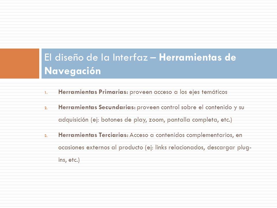 1. Herramientas Primarias: proveen acceso a los ejes temáticos 2. Herramientas Secundarias: proveen control sobre el contenido y su adquisición (ej: b