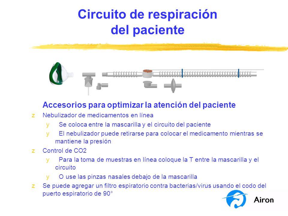 Circuito de respiración del paciente Accesorios para optimizar la atención del paciente zNebulizador de medicamentos en línea y Se coloca entre la mas