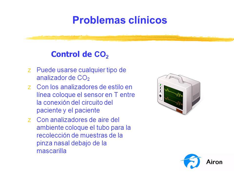 Problemas clínicos Control de CO 2 zPuede usarse cualquier tipo de analizador de CO 2 zCon los analizadores de estilo en línea coloque el sensor en T