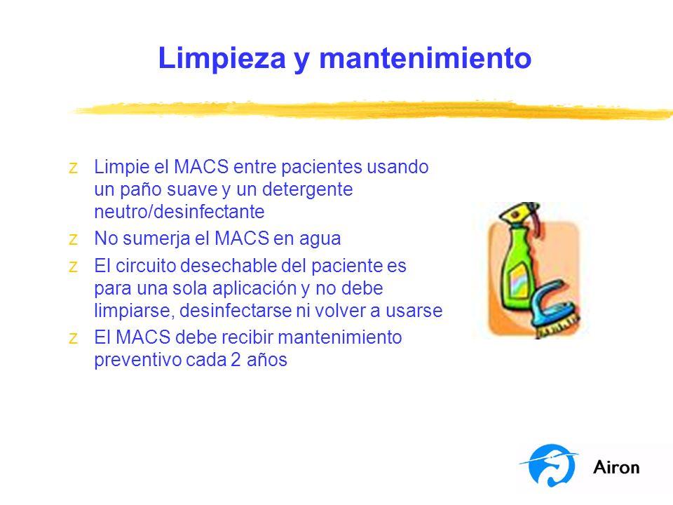 Limpieza y mantenimiento zLimpie el MACS entre pacientes usando un paño suave y un detergente neutro/desinfectante zNo sumerja el MACS en agua zEl cir