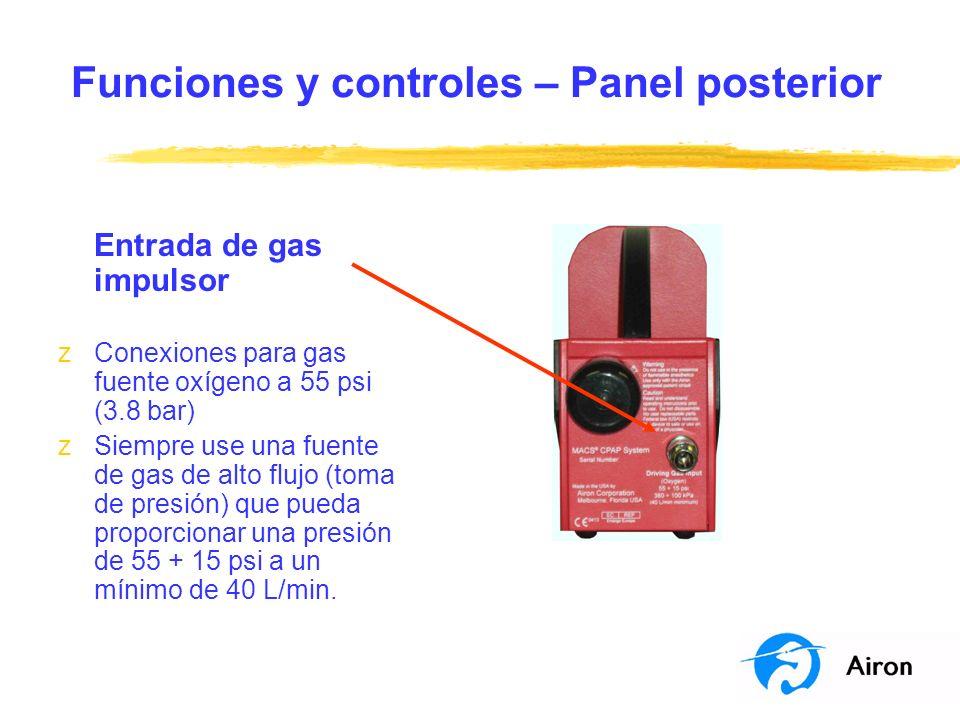 Funciones y controles – Panel posterior Entrada de gas impulsor zConexiones para gas fuente oxígeno a 55 psi (3.8 bar) zSiempre use una fuente de gas