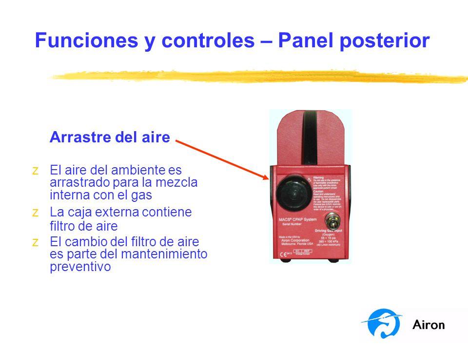 Funciones y controles – Panel posterior Arrastre del aire zEl aire del ambiente es arrastrado para la mezcla interna con el gas zLa caja externa conti