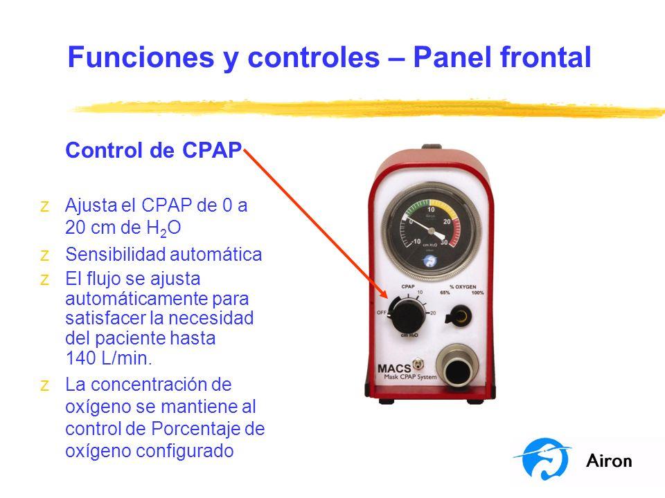 Funciones y controles – Panel frontal Control de CPAP zAjusta el CPAP de 0 a 20 cm de H 2 O zSensibilidad automática zEl flujo se ajusta automáticamen