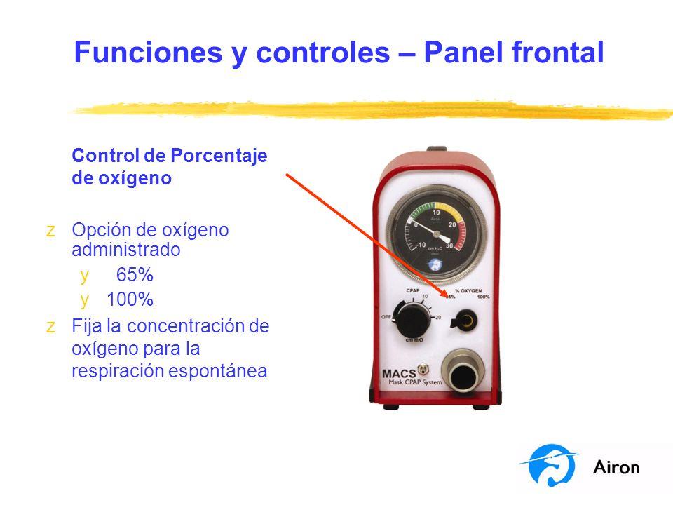 Funciones y controles – Panel frontal Control de Porcentaje de oxígeno zOpción de oxígeno administrado y 65% y 100% zFija la concentración de oxígeno