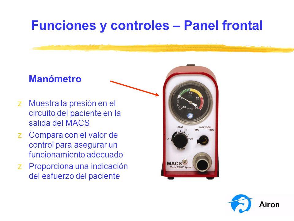 Funciones y controles – Panel frontal Manómetro zMuestra la presión en el circuito del paciente en la salida del MACS zCompara con el valor de control