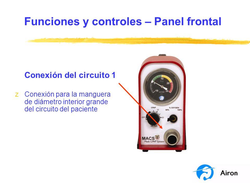 Funciones y controles – Panel frontal Conexión del circuito 1 zConexión para la manguera de diámetro interior grande del circuito del paciente
