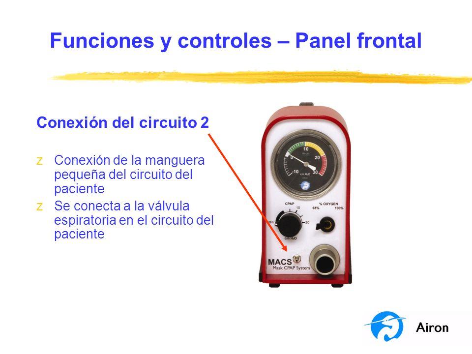 Funciones y controles – Panel frontal Conexión del circuito 2 zConexión de la manguera pequeña del circuito del paciente zSe conecta a la válvula espi