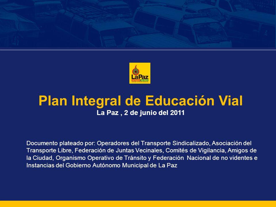 Plan Integral de Educación Vial La Paz, 2 de junio del 2011 Documento plateado por: Operadores del Transporte Sindicalizado, Asociación del Transporte