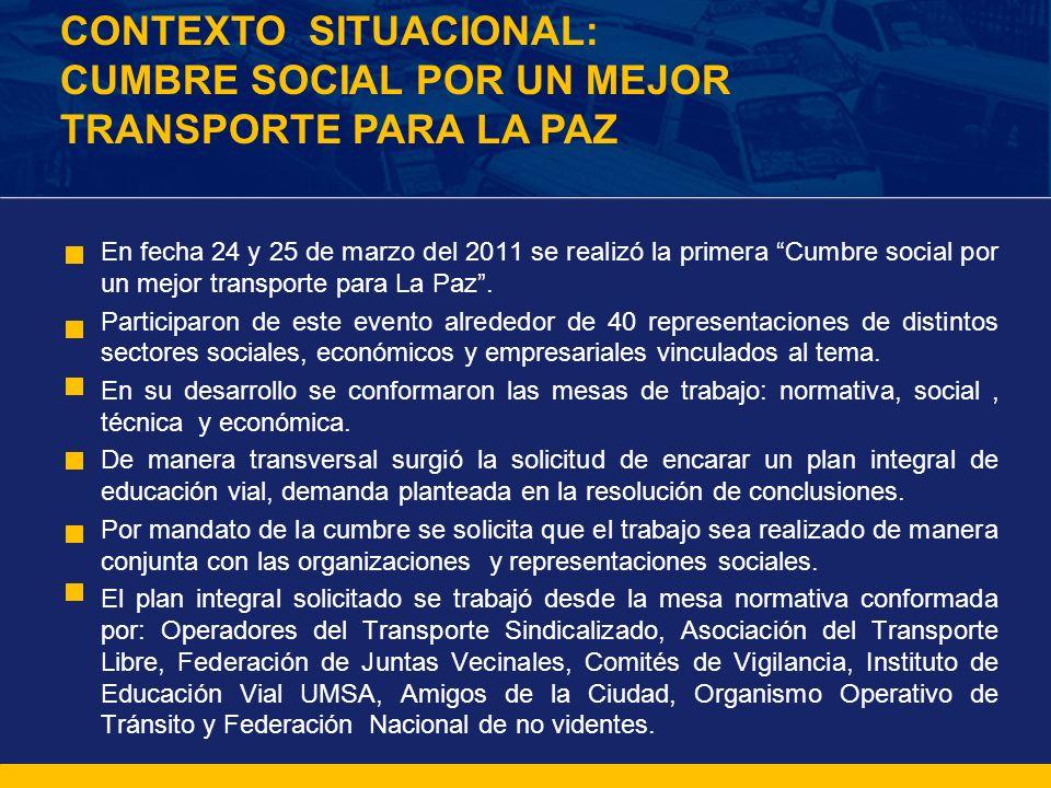 En fecha 24 y 25 de marzo del 2011 se realizó la primera Cumbre social por un mejor transporte para La Paz. Participaron de este evento alrededor de 4