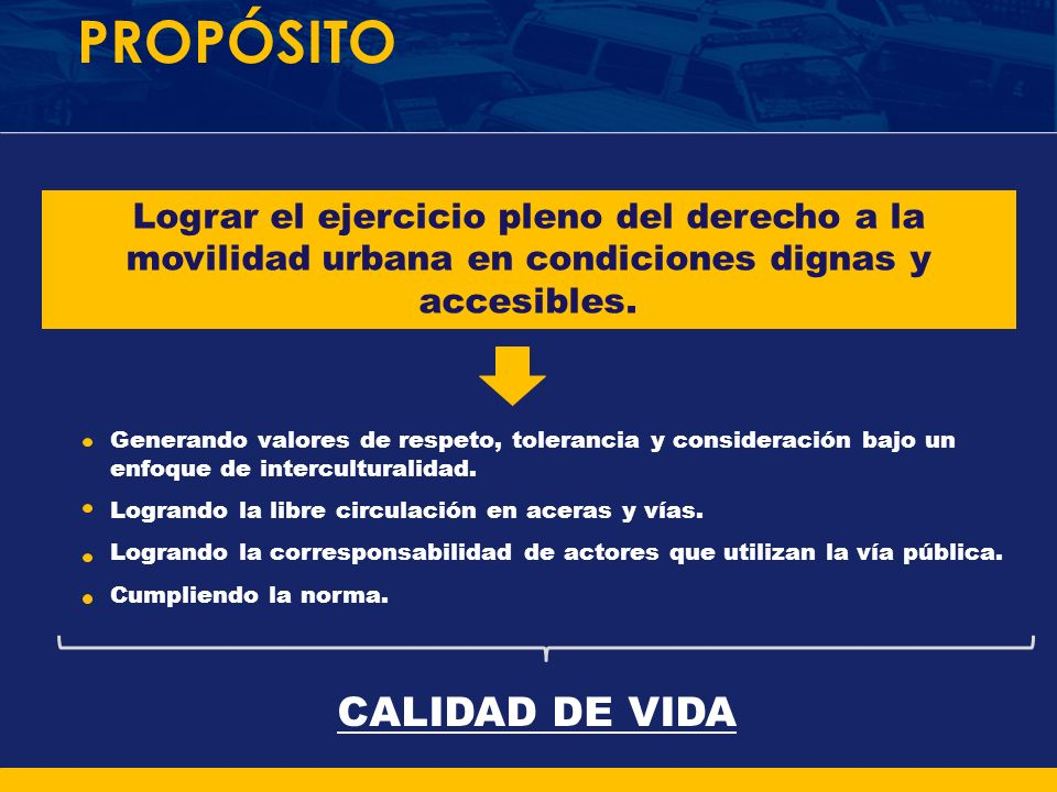 PROPÓSITO Lograr el ejercicio pleno del derecho a la movilidad urbana en condiciones dignas y accesibles. Generando valores de respeto, tolerancia y c