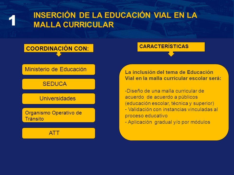 INSERCIÓN DE LA EDUCACIÓN VIAL EN LA MALLA CURRICULAR 1 COORDINACIÓN CON: Ministerio de Educación SEDUCA Universidades Organismo Operativo de Tránsito