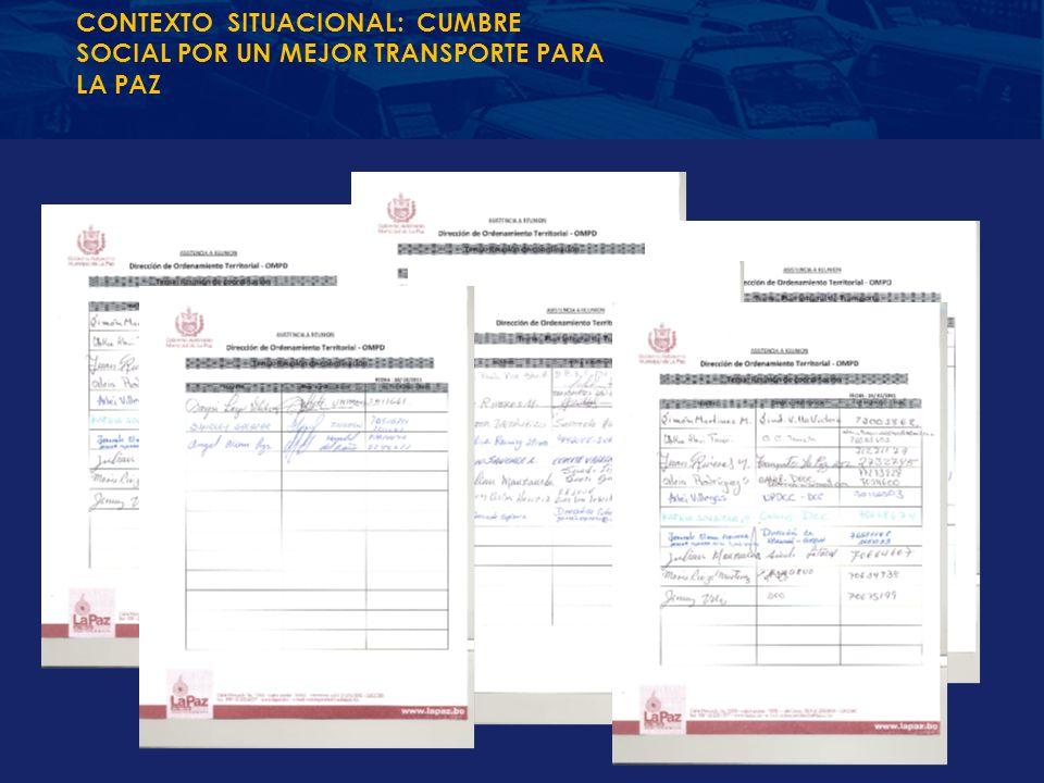 CONTEXTO SITUACIONAL: CUMBRE SOCIAL POR UN MEJOR TRANSPORTE PARA LA PAZ