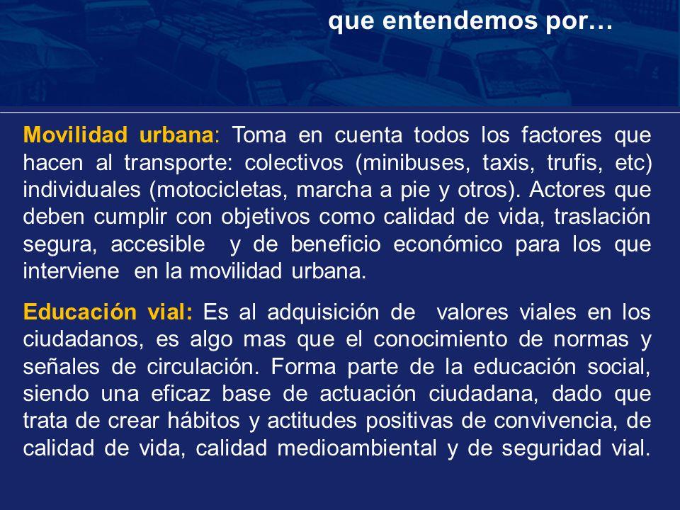 Movilidad urbana: Toma en cuenta todos los factores que hacen al transporte: colectivos (minibuses, taxis, trufis, etc) individuales (motocicletas, ma