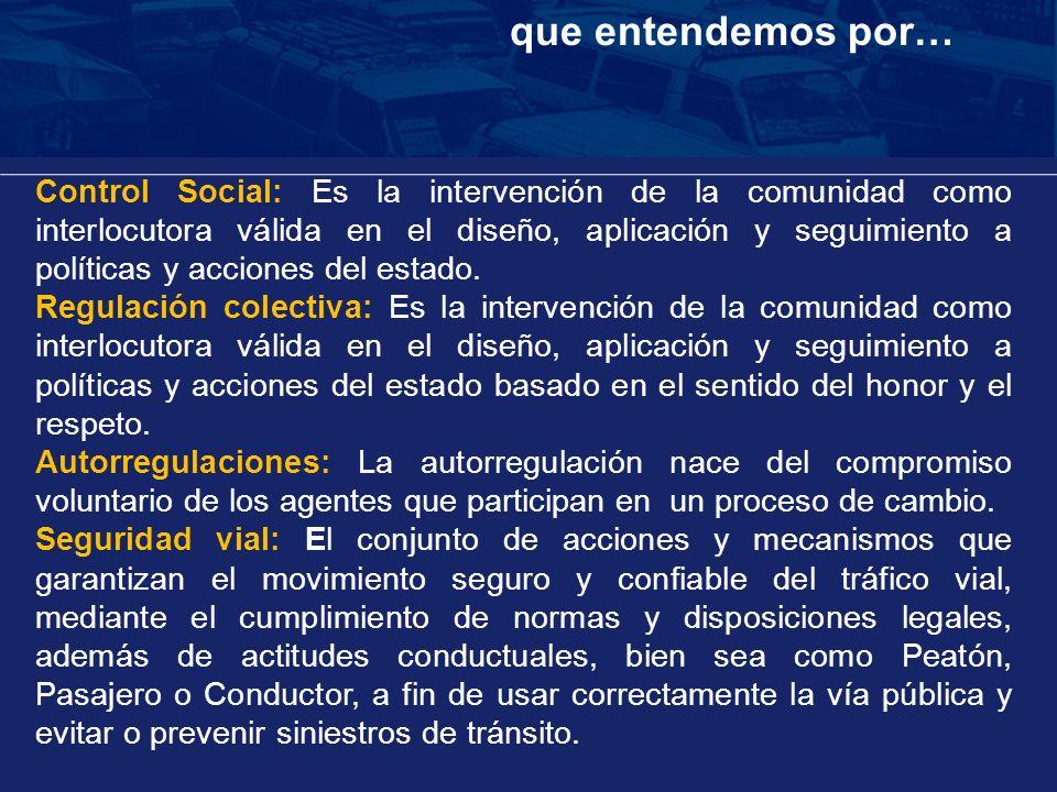 Control Social: Es la intervención de la comunidad como interlocutora válida en el diseño, aplicación y seguimiento a políticas y acciones del estado.