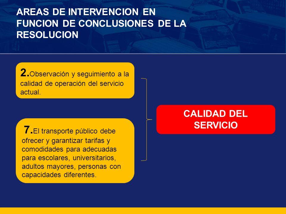 AREAS DE INTERVENCION EN FUNCION DE CONCLUSIONES DE LA RESOLUCION 2. Observación y seguimiento a la calidad de operación del servicio actual. 7. El tr