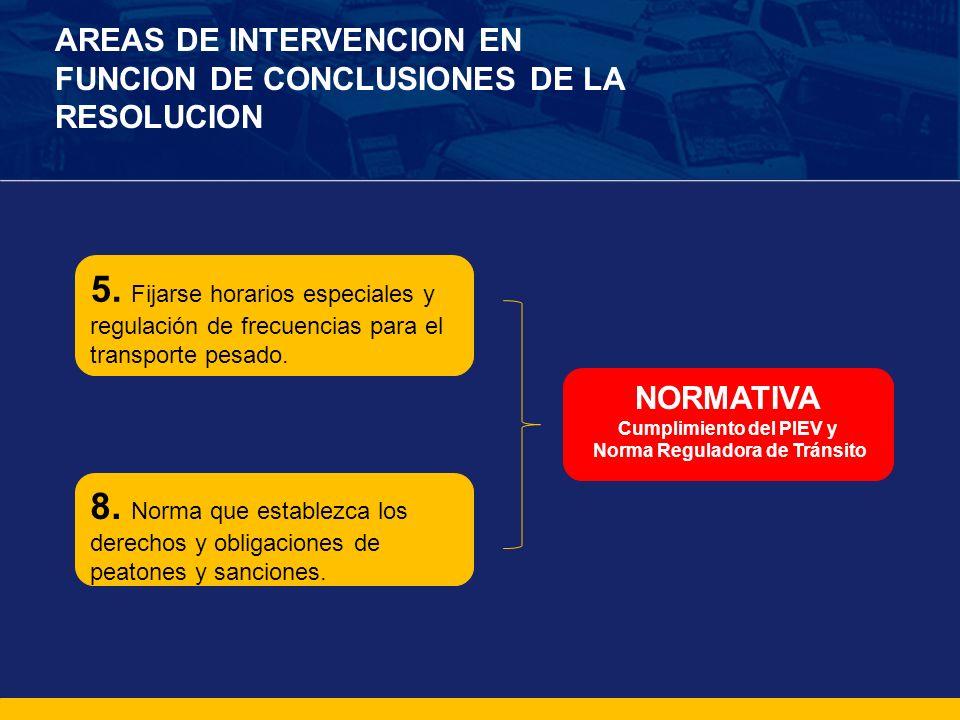 AREAS DE INTERVENCION EN FUNCION DE CONCLUSIONES DE LA RESOLUCION 5. Fijarse horarios especiales y regulación de frecuencias para el transporte pesado