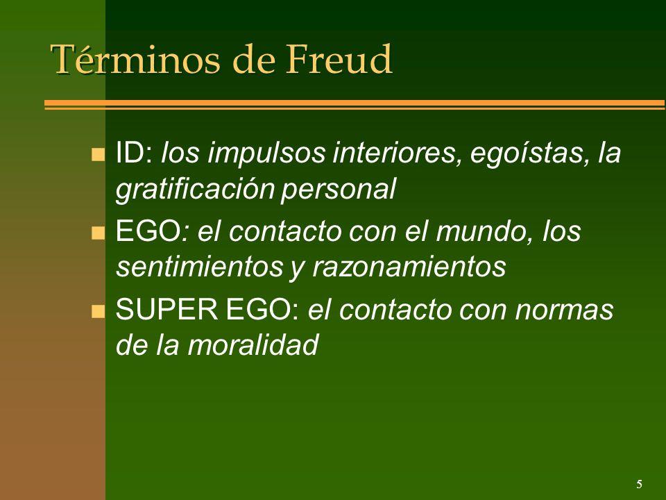 5 Términos de Freud n ID: los impulsos interiores, egoístas, la gratificación personal n EGO: el contacto con el mundo, los sentimientos y razonamient