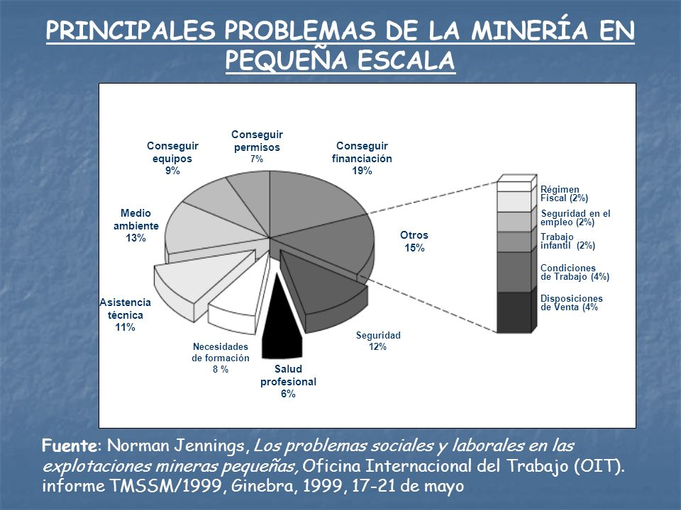 LOS ORGANISMOS INTERNACIONALES Y LA MPE Interés de diversos organismos de la Naciones Unidas: OIT, UNCTAD,UNEP, UNESCO, CEPAL, PNUD Inclusión de la MPE en las agendas de organismos de cooperación internacional, como el IDRC, CIDA, DFI Creación del CASM (Communities and Small Scale Mining), liderado por el Banco Mundial Se resalta la iniciativa del MMSD, que a través de los procesos de investigación y participación entre los años 2001 y 2002 han permitido avanzar hacia una mejor y más directa aproximación a la minería en pequeña escala en varios países de la región Para la Iniciativa de Investigación de Políticas Mineras del IDRC, el tema de la MPE y artesanal, es una de las prioridades de su agenda.