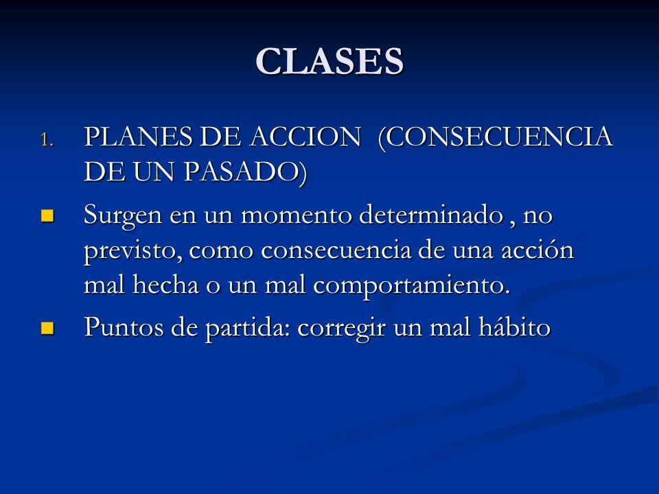 CLASES 1. PLANES DE ACCION (CONSECUENCIA DE UN PASADO) Surgen en un momento determinado, no previsto, como consecuencia de una acción mal hecha o un m