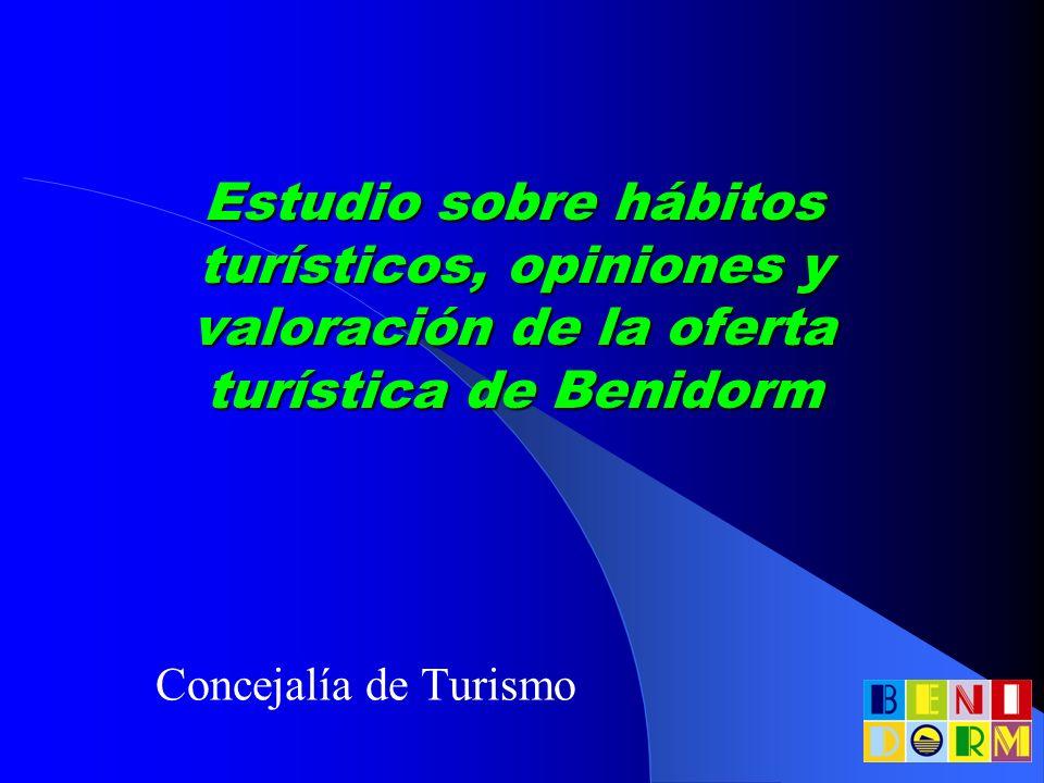 Estudio sobre hábitos turísticos, opiniones y valoración de la oferta turística de Benidorm Concejalía de Turismo