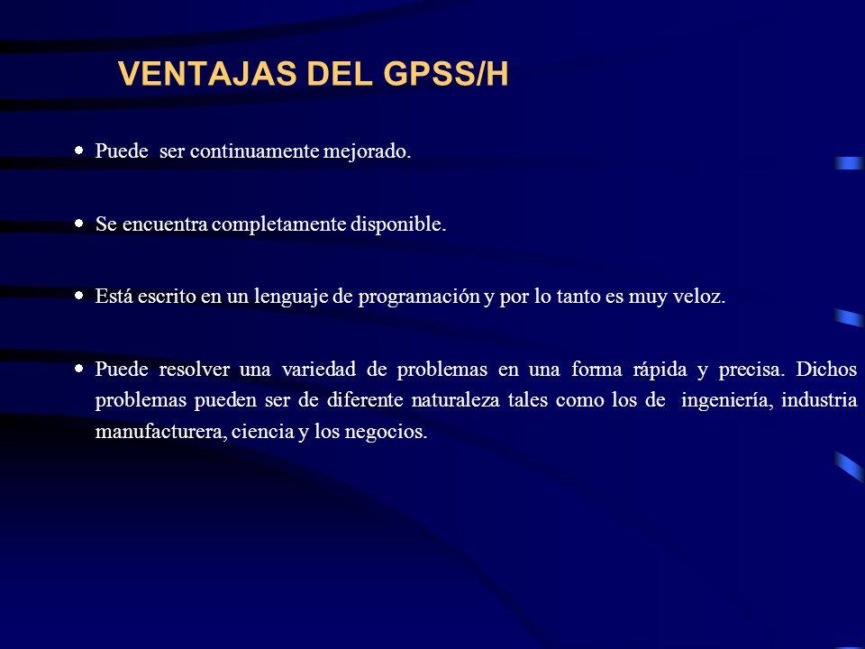 VENTAJAS DEL GPSS/H Puede ser continuamente mejorado. Se encuentra completamente disponible. Está escrito en un lenguaje de programación y por lo tant